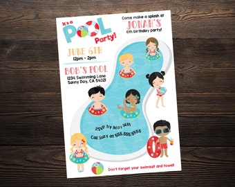 Pool Party Birthday Invite // Custom Birthday Invitation //  5x7 // High Resolution Digital Download JPEG & PDF