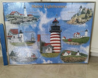 "vintage state of maine lighthouses framed jigsaw puzzle 18""x24"" silver colored frame - wall hanging art picture photo nautical ocean coastal"