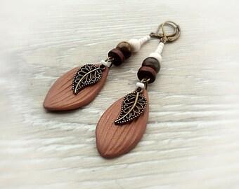Tiger's eye earrings Rustic Leaves earrings Bohemian gemstone earrings Boho dangle earrings Vintage Leaves jewelry