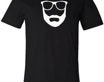 Beard Geek Cool Men's T-Shirt Black Short Sleeve Graphic Tee