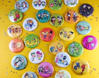 Build Your Own Cartoon Pin Set or Magnet Set | 90s Nickelodeon | 90s cartoon