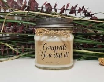Congratulations Gifts - Celebration Gifts - 8oz  Soy Candles Handmade - Graduation Gift - Personalized Gift - High School - College Graduate
