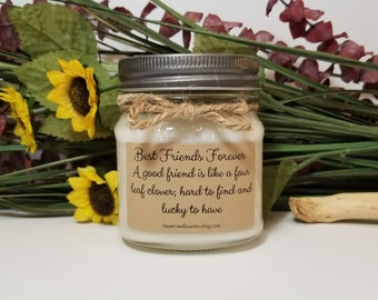 Best Friend Gift - 8oz Soy Candles Handmade - Sister Gift - Coworker Gifts - Best Friend Birthday - Mason Jar Candles - Personalized Gift