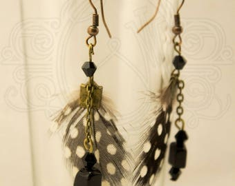 Real feather black white polka dot stud earrings.