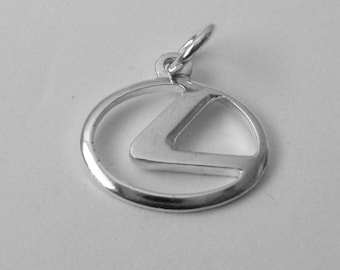 17 mm Genuine Solid 925 STERLING SILVER 3D LEXUS Sign Logo Car charm/pendant