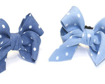 Denim fabric polka dots ribbon bow for women hair bow Hair Elastic Ponytail Holder