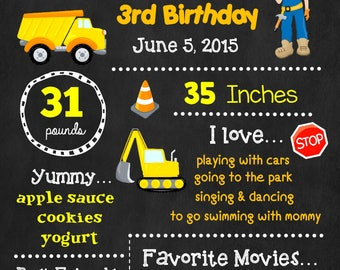 Construction Birthday Chalkboard Poster - Wall Art design - Birthday Poster Sign - Any Age