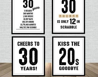 30th Birthday Poster Sign Bundle Pack, Back in 1988, Printable, Cheers to 30 Years, 30 in scrabble, Kiss the 20's Goodbye