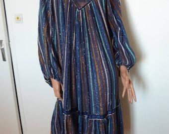 Vintage 70s Greek Cotton Gauze Dress Cheesecloth Boho Folk Floaty Crochet Lurex Striped Hippy Hippie Long Sleeves Seventies