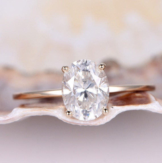 6x8mm Oval Moissanite Engagement Ring Plain Gold Band