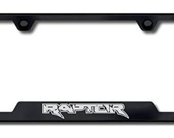 Ford Raptor License Plate Frame - Laser Etched Cut-Out Frame - Black