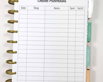 Online Purchases, Online Shopping, Shopping Inserts for Medium, Classic Happy Planner, Discbound Planner