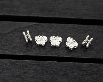 10pcs Sterling Silver Bead,Sterling silver spacer bead,Sterling silver butterfly bead,Sterling silver butterfly spacer bead, Butterfly charm