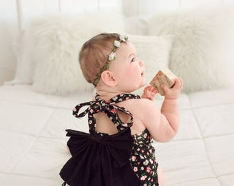Clearance, Gifts for Baby Girl, Black Romper Baby, Baby Halter Romper, Baby Halter, Baby Girl Romper,Romper Baby Girl, Floral Romper