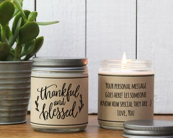Thankful and Blessed Candle Gift - Thanksgiving Candle | Thanksgiving Hostess Gift | Send Fall Gift | Fall Scented Candle| Thanksgiving Gift