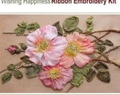 Wishing Happiness ribbon embroidery kit with natural silk ribbon and detailed instructions