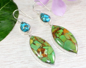 Green Copper Turquoise, Blue Copper Turquoise, Turquoise Gemstone Earring, Turquoise Jewelry, Drop Dangle Earring, Womens Earring Jewelry