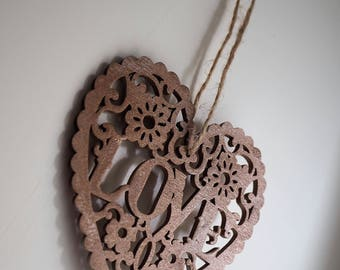 Copper hanging heart, door hanger, wall hanging