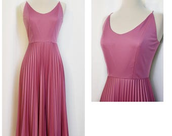 70s Mauve Disco Dress with Accordion Skirt