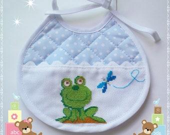 Frog Bib (Baby bib frog)-Cross Stitch