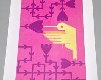 Hummingbird/3 Colour/Digital Art Print