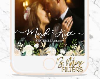 WEDDING SNAPCHAT GEOFILTER, Wedding Snapchat Filter,Floral Snapchat Filter,Custom Snapchat,Greenery Snapchat Filter,Script Snapchat Filter,