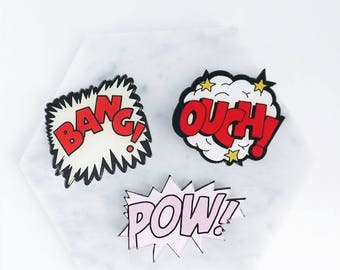 Comic pin; bang! pin; bang; POW!; pow pin; comic dialogue; comic brooch; OUCH ; ouch pin; comic pin