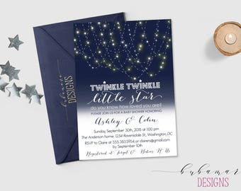 Twinkle Twinkle Little Star Baby Shower Invitation Navy White Baby Shower Invite with Stars Gender Neutral Baby Shower Invite - CS029