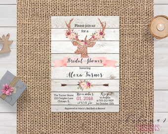 Rustic Deer Antlers Bridal Shower Invitation Pink Floral Bridal Shower Invite Printable Rose Gold Wood Tribal Bridal Party Invite - BS034