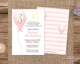 Pink Balloons Girl Birthday Invitation Kids Party Birthday Invite Glitter Number Birthday Invitation Children Boho Birthday Invite - KB021