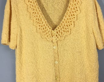 HAND KNITTED vintage yellow boucle cotton blend cardigan UK 12/14
