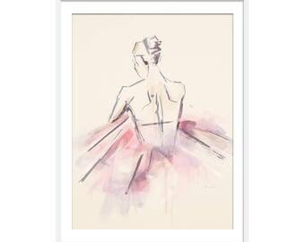 Ballet Dancer Ballerina Art Print, Ballet Gift, Ballerina Picture, Ballet Print, Gift for Girls, Pink Interiors, Nursery Wall Art