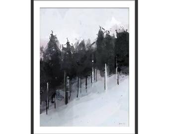 Winter Trees Scenic Art Print by Green Lili. Wall Art. Seasonal Gift. Dark Interiors. Wall Decor