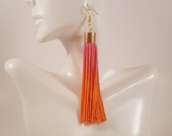 Pink tassel earrings, orange tassel earrings, pink earrings, orange earrings, fringe earrings, gift for girlfriend, gift for mom
