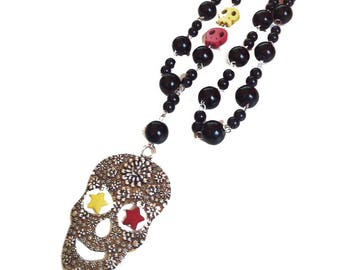 Calavera Rosary necklace - skull Mexican - sugar skull - dia los muertos - day of the dead