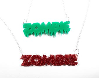 Halloween zombie horror punk rock necklace dripping
