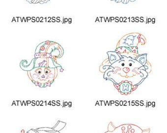 Halloween-Faces ( 10 Machine Embroidery Designs from ATW ) XYZ17H
