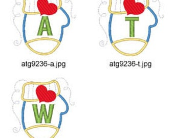Applique-Mitten-Alphabet ( 26 Machine Embroidery Designs from ATW ) XYZ17K