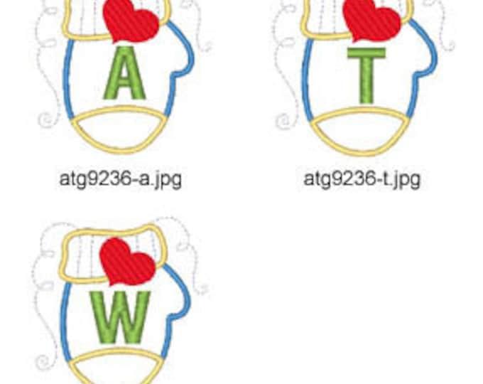 Applique-Mitten-Alphabet ( 26 Machine Embroidery Designs from ATW ) XYZ17K