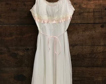 Reserve for Luoli, Vintage Peignoir Set, 60s Pink and Ivory Nightgown and Robe Set by Gotham Gold Stripe Peignoir Set, Chiffon and Lace
