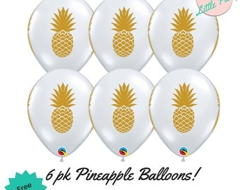 6 x Pineapple Balloons Gold Clear Birthday Party Decoration