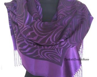 Purple Scarf Viscose Silk Blended Wrap Purple Shawl Purple Flower Scarf Boho Shawl Purple Bohemian Purple Lightweight Summer Scarf Purple