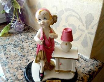Italian Ceramic Vintage Lady miniature, Vintage Lady Model Miniature by Valentino