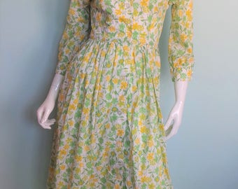 70s Liberty Buttercup Summer Dress, Bright Yellow Meadow Shirt Dress, Liberty of London Bright Floral Shirt Waister, 33in Bust, X-Small