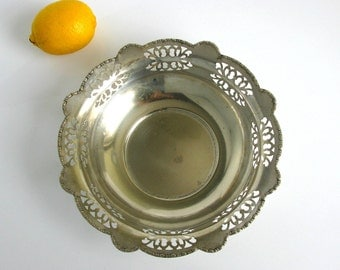 "Antique / Germany / Art Deco / Openwork / Silver Plated Bowl / Scalloped Rim Bowl / Fruit Bowl / Dish / 9"" / EPNS / Farmhouse / Rustic Decor"