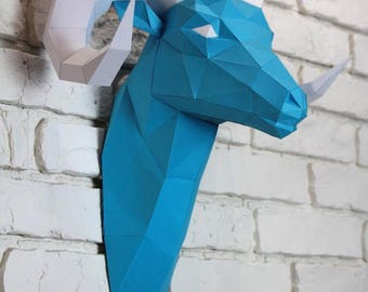 Diy Paper Sculpture - Ram Head, Paper Trophy,  Animal Trophy, Loft Decor, Wall Decor, 3D papercraft model, animal head, lowpoly paper, DIY