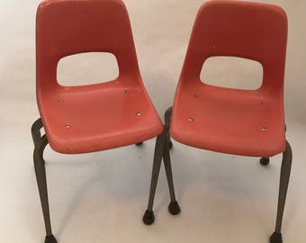 Orange Mid Century Modern Brunswick Kids Chairs - Set of 2