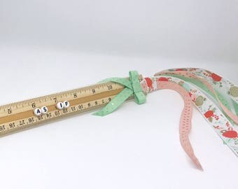 AS IF Badass Girl Ribbon Planner Ruler Back To School Pink Green and Gold Floral Polka Dot Home Office School Supplies Ready to Ship