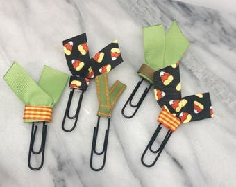 Halloween Planner Clips Candy Corn School Supplies Accessories Ribbon Paper Clips Back to School or Home Office Bookmark