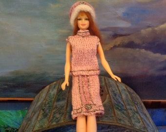 Barbie clothes ( WTHOUT DOLL)/Hand made/pink/silver/mohair/Unique piece/Exclusive